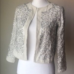 Silver and White Sequin Lightweight Jacket
